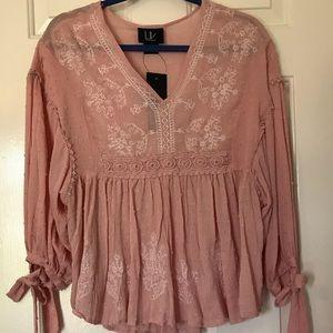 NWT LIV Embroidered Pink Boho Blouse Size Medium